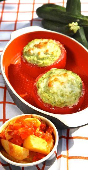 Zucchini-Tomaten mit Griechischen Kartoffeln