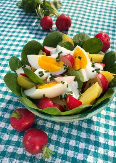 Kartoffelsalat mit Spinat und Radieschen