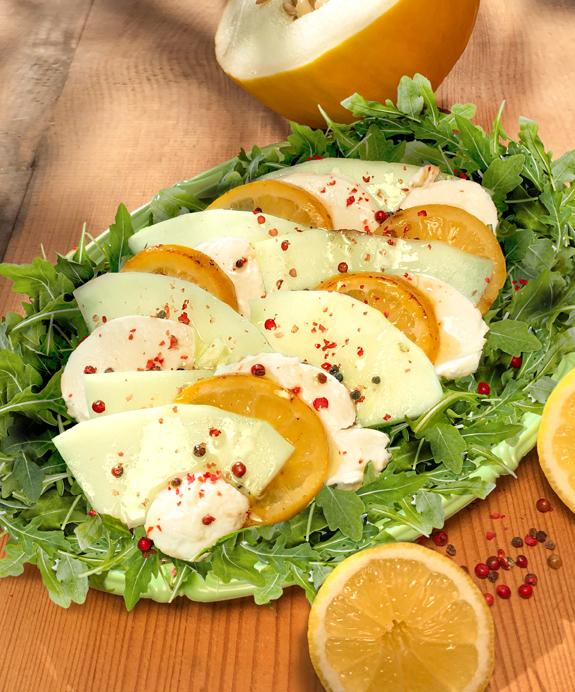 Honigmelone mit geschmolzenen Zitronen