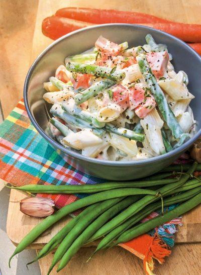 Nudelsalat mit grünen Bohnen