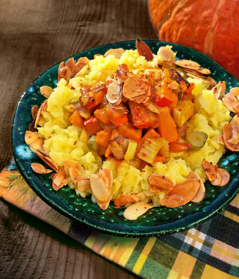 Kürbis-Fenchel-Ragout mit Chilimandeln