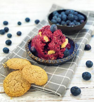 Geeiste Beeren mit Joghurt und Cookies