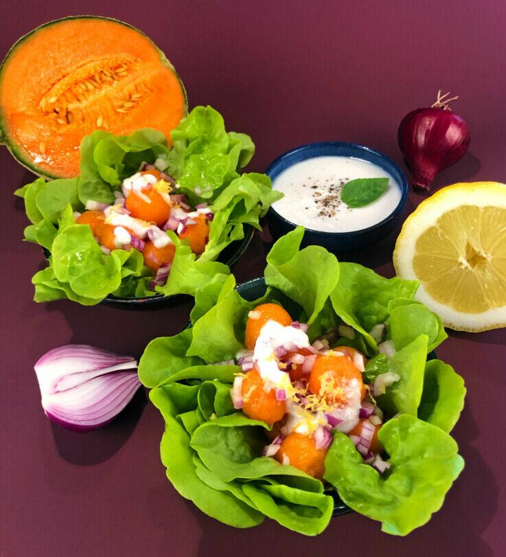 Kopfsalat mit Charentais-Melone